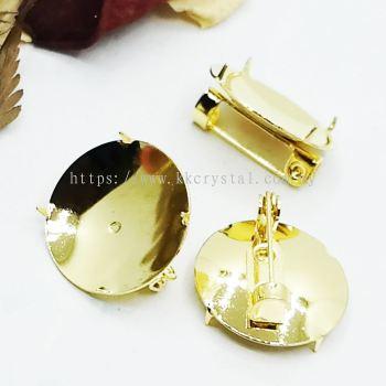 Disc Pin Brooch, 18mm, 008037, Gold Plating, 008037, 20pcs/pkt