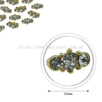 Fashion Rhinestone Diverter, S1020 Gold Crystal 12mm, 20pcs/pkt (BUY 1 GET 1 FREE)