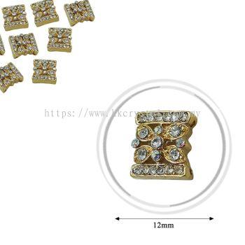 Fashion Rhinestone Diverter, S1028 Gold Crystal AB 12mm, 4pcs/pkt (BUY 1 GET 1 FREE)