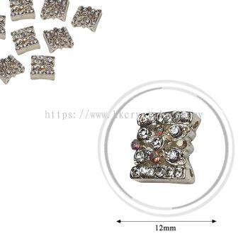 Fashion Rhinestone Diverter, S1028 Silver Crystal AB 12mm, 4pcs/pkt (BUY 1 GET 1 FREE)