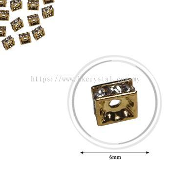 Fashion Rhinestone Diverter, S2220 Gold Crystal 6mm, 20pcs/pkt (BUY 1 GET 1 FREE)