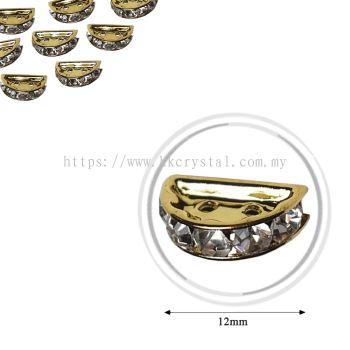 Fashion Rhinestone Diverter, S2910 Gold Crystal 12mm, 10pcs/pkt (BUY 1 GET 1 FREE)
