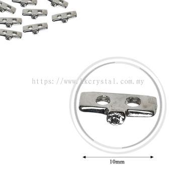 Fashion Rhinestone Diverter, S3520 Silver White 10mm, 10pcs/pkt (BUY 1 GET 1 FREE)
