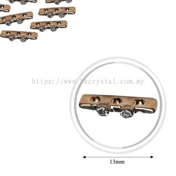 Fashion Rhinestone Diverter, S3630 Gold White 13mm, 10pcs/pkt (BUY 1 GET 1 FREE)