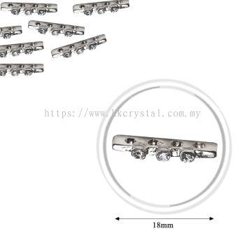 Fashion Rhinestone Diverter, S3740 Silver White 18mm, 10pcs/pkt (BUY 1 GET 1 FREE)