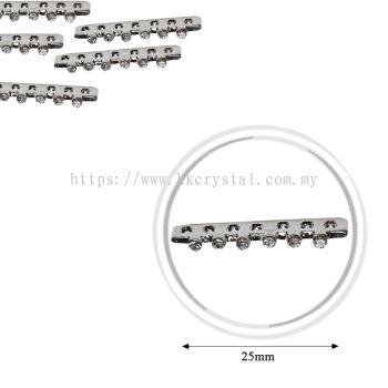 Fashion Rhinestone Diverter, S5570 Silver White 28mm, 10pcs/pkt (BUY 1 GET 1 FREE)