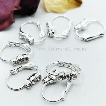 Hoop Earring Larch Back with Rhinestone, Silver Plating, 20pcs/pkt