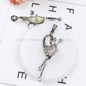 Pendant Clips, Swan, Plated 019016, 3pcs/pack
