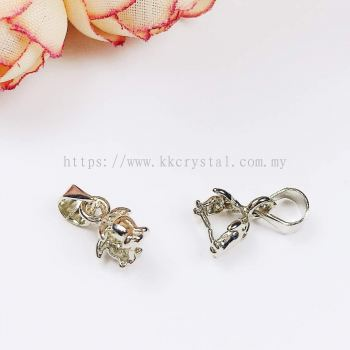 Pendant Clips, Rose Style, Plated, 008010, 25pcs/pack
