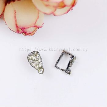 Pendant Clips, with Rhinestone, Large, Plated, 020012, 10pcs/pack