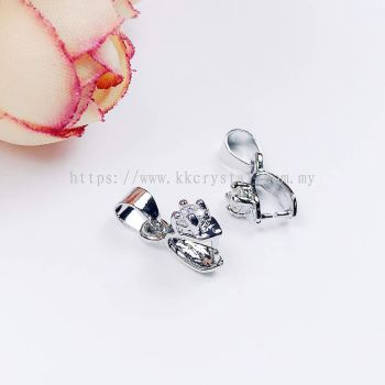 Pendant Clips with Diamond, Small, Plated, 005019, 10pcs/pack