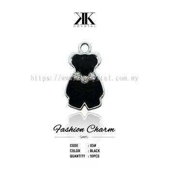 Fashion Charm, Code 03# Black, 10pcs/pack