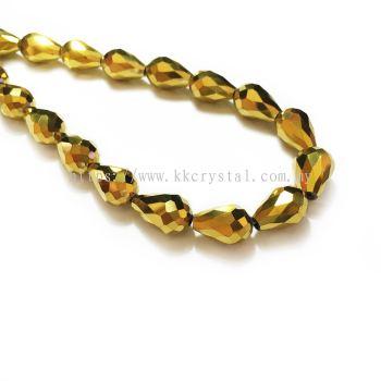 Crystal China, Teardrop 10mm, B77 Metalic Gold