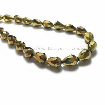 Crystal China, Teardrop 08mm, B77 Metalic Gold