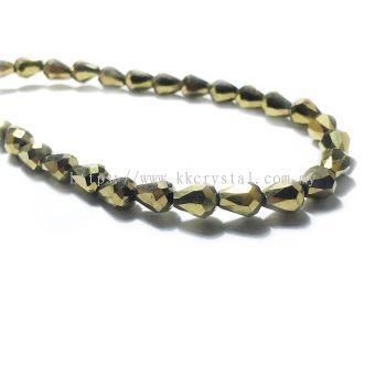 Crystal China, Teardrop 06mm, B77 Metalic Gold