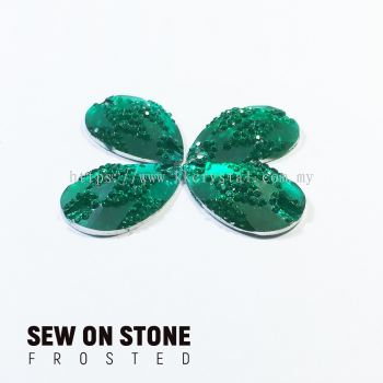 Sew On Stone, Frosted Print, 02# Teardrop, 15x22mm, Color 09#, 4pcs/pack (BUY 1 GET 1 FREE)