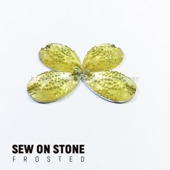 Sew On Stone, Frosted Print, 02# Teardrop, 15x22mm, Color 01#, 4pcs/pack (BUY 1 GET 1 FREE)