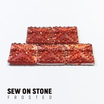 Sew On Stone, Frosted Print, 01# Square, 14x14mm, Color 07#, 5pcs/pack (BUY 1 GET 1 FREE)
