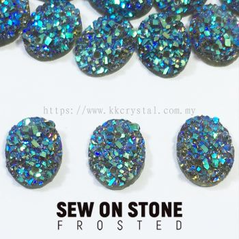 Sew On Stone, Frosted, Code 01# Oval, 8*10mm, 017# Black Diamond 2X, 25pcs/pack (BUY 1 GET 1 FREE)