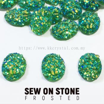 Sew On Stone, Frosted, Code 01# Oval, 8*10mm, 005# Peridot 2X, 25pcs/pack (BUY 1 GET 1 FREE)