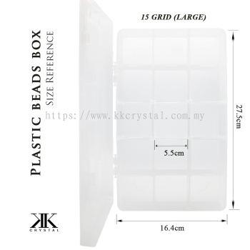 013123, Plastik Portable Beads Box, Large 15GRID