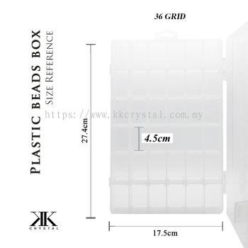 013116, Plastik Portable Beads Box, 36GRID