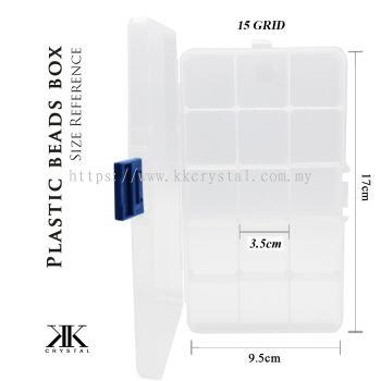 013093, Plastik Portable Beads Box, 15GRID