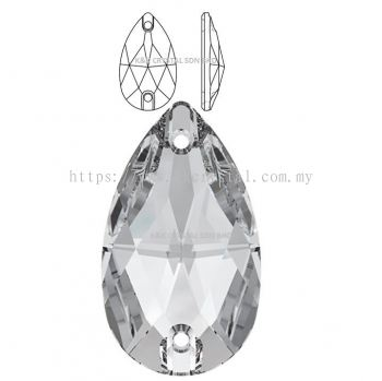 SWAROVSKI, DROP SEW-ON STONE, 12*7MM/18*10.5MM, 001 CRYSTAL
