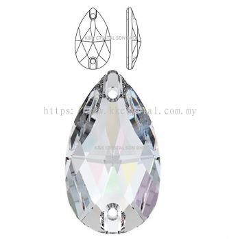 SWAROVSKI, DROP SEW-ON STONE, 3230#, 12*7MM/18*10.5MM, 001 AB