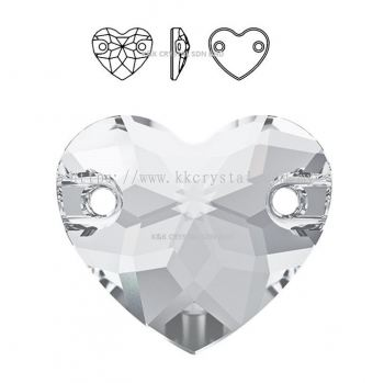 SWAROVSKI, HEART SEW-ON STONE, 3259#, 12MM/16MM,  001 CRYSTAL