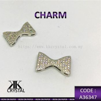 363473, CHARM, RIBBON, A36347, WHITE GOLD PLATED, 2PCS/PCK