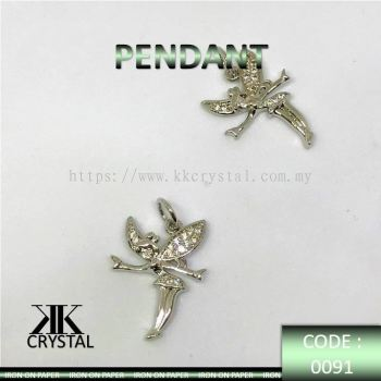 000919, PENDANT, FAIRY, 0091#, WHITE GOLD PLATED, 2PCS/PCK