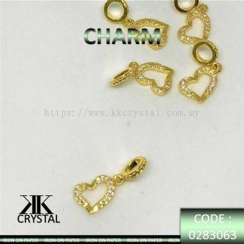 830636, CHARM, HEART SHAPE, 0283063, GOLD, 5PCS/PCK
