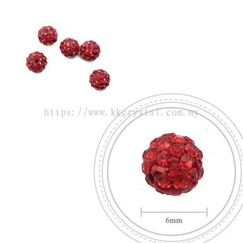 Bling Ball, 6mm, A008 Light Siam Only, 5pcs:pack