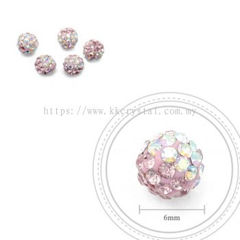 Bling Ball, 6mm, B004 Light Rose + Rainbow White, 5pcs:pack