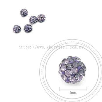 Bling Ball, 6mm, B013 Tanzanite + Light Tanzanite, 5pcs:pack