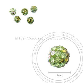 Bling Ball, 6mm, B026 Olivine + Peridot + Crystal AB, 5pcs:pack