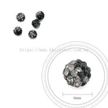 Bling Ball, 6mm, B039 Black + Black Diamond, 5pcs:pack