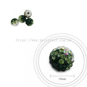 Bling Ball, 10mm, B025, Emerald + Peridot + Rainbow White, 4pcs:pack