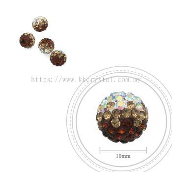 Bling Ball, 10mm, B029, Dark Brown + Light Brown + Rainbow White, 4pcs:pack