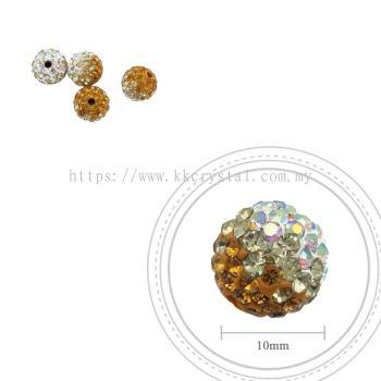 Bling Ball, 10mm, B030, Topaz + Jonquil + Rainbow White, 4pcs:pack