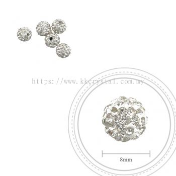 Bling Ball, 8mm, A001, Clear White, 5pcs:pack