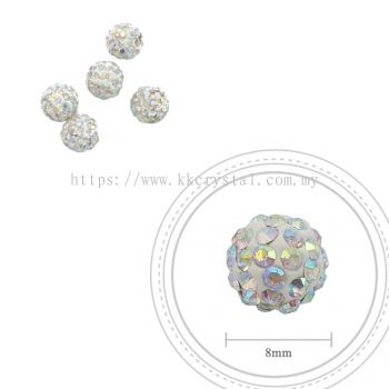 Bling Ball, 8mm, A101, Rainbow White, 5pcs:pack