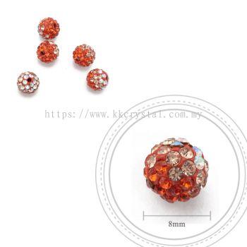 Bling Ball, 8mm, B007, Hycinth + Light Peach + Rainbow White, 5pcs:pack