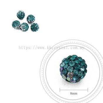 Bling Ball, 8mm, B019, Blue Zircon + Aquamarine + Rainbow White, 5pcs:pack