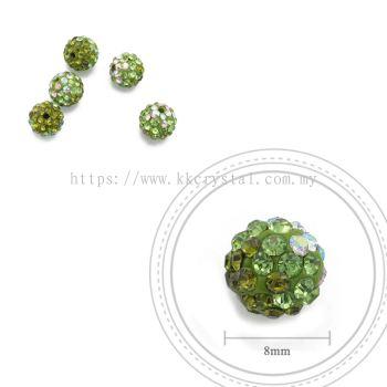 Bling Ball, 8mm, B026, Olivine + Peridot + Rainbow White, 5pcs:pack