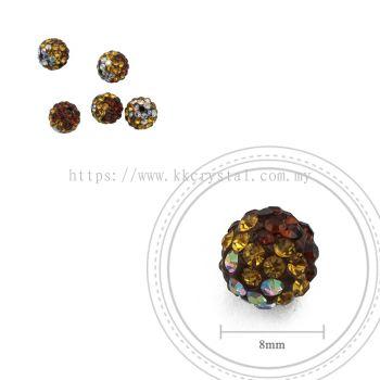 Bling Ball, 8mm, B031, Dark Brown + Topaz + Rainbow White, 5pcs:pack