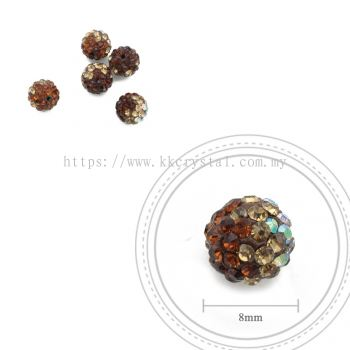 Bling Ball, 8mm, B124, Dark Brown + Light Brown + Rainbow White, 5pcs:pack