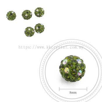 Bling Ball, 8mm, C026, Olivine + Rainbow DOT, 5pcs:pack