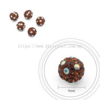 Bling Ball, 8mm, C031, Dark Brown + Rainbow DOT, 5pcs:pack